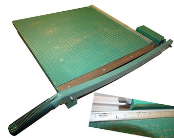 """Vintage 19"""" Premier Photo Materials Company Wooden Base Paper Cutter from Chicago Illinois"""
