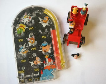 Vintage Disney Toys Broken But Awesome Hand Held Pinball and Pinocchio Driving Headless Mickey Head Included