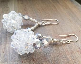 Bridal Hoop Earrings // White Crystal Clusters // Unique Silver Hoops