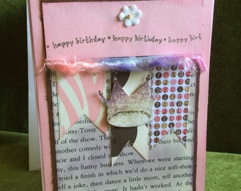 Happy birthday card with crown shabby chic
