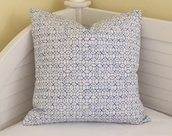 Quadrille China Seas Melong Batik French Blue on White Suncloth Indoor Outdoor Designer Pillow Cover- 12x20 Lumbar