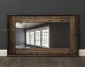Distressed Wood Mirror Decorative Wall Mirror Rustic Reclaimed Wood Mirror Salvage Weathered Farmhouse 36 X 22