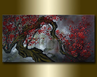Asian Blossoms Original Asian Zen Art Modern Flower Canvas Oil Painting 24X48 by Willson Lau