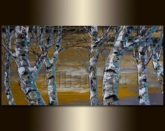 Birch Tree Forest Landscape Painting Oil on Canvas Textured Palette Knife Modern Original Art Seasons 18X36 by Willson Lau