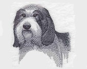 Bearded Collie Tea Towel | Bearded Collie Sketch | Hand Towel | Personalized Kitchen Towel | Embroidered Tea Towel | Embroidered Towel