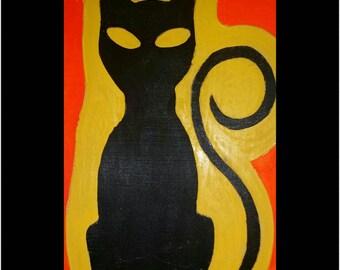Handmade Wooden Halloween Cat