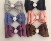 Silk fall bubble bow clip or headband 6 color options cozette couture back to school