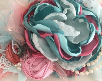 Matilda flower headband, back to school, made to match, once upon a time, cozette couture, bow, sale headband, flower crown