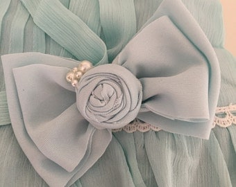 Baby blues bow  headband or clippie