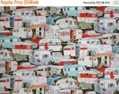 ON SALE Allover Vintage Camper Trailer Print Pure Cotton Fabric--One Yard