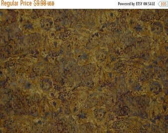 ON SALE Mustards with Black Batik Cotton Fabric One Yard