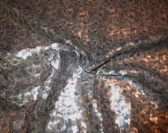 Gray and Platinum Vermicelli Design Allover Stretch Sequin Fabric--One Yard
