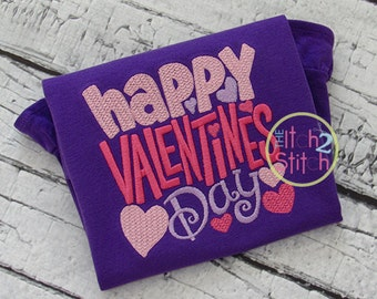 Happy Valentines Day Embroidery Design For Machine Embroidery in sizes 4x4, 5x5, 6x6, 7x7 and 8x8, INSTANT DOWNLOAD now available