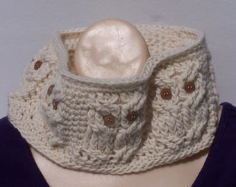 Owl cable cowl neckwarmer scarf in luxurious wool and alpaca