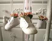 Baby Shoe Mobile, Vintage Embellished Baby Mobile with Pink Flowers, Lace and Lots of Ribbons, Shabby Chic Nursery Decor, Nursery Mobile