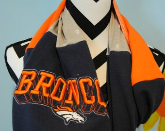 Denver Broncos Upcycled T-Shirt Infinity Scarf