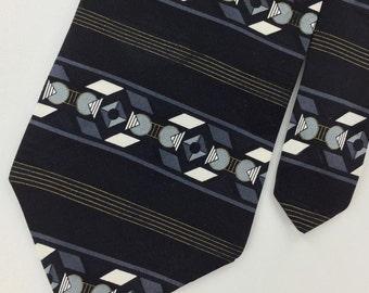 Henry Grethel Us Made Gray Black Striped Silk Men Necktie H3-412 Ties Excellent Vintage Corbata Krawatte Cravatta Cravate