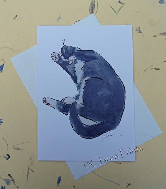 Tickle Me Cat Greeting Card From my Original Watercolour Painting
