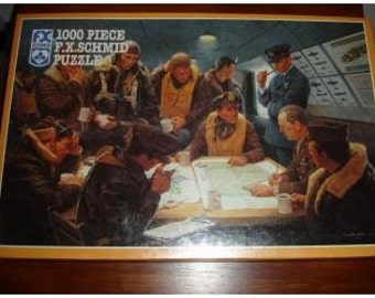 """F.X. Schmid 1000 Piece Puzzle """"After the Mission"""" RARE NIB Sealed Gift Him Her Men Women Aviator Pilot War Military"""