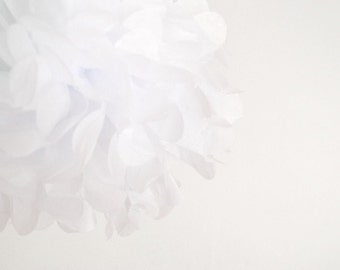 paper pom pom: white tissue paper pom pom party decor, nursery decor, cake smash