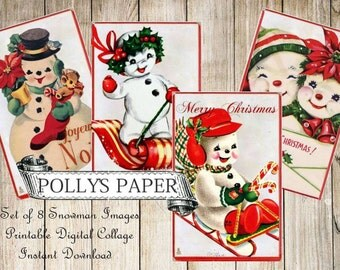 Snowman Digital Images printable download file for Cards and Tags and Crafts Polly's Paper Studio 8 Images