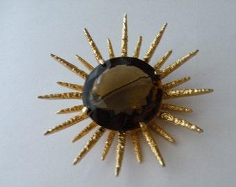 Capri smoked topaz rhinestone star starburst brooch pendant
