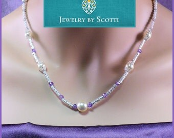 Dainty Gemstone Pearl Necklace Cubic Zirconia Hearts Czech Glass Purple White Sweetheart Jewelry 20-22in / Matching Earrings Available