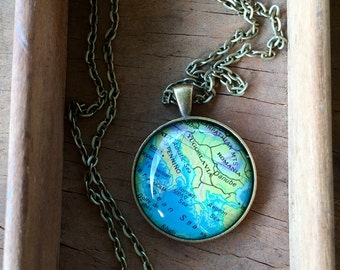 Italy Globe Pendant Necklace Map World Travel Wanderlust Gift for Traveler Earth Nation