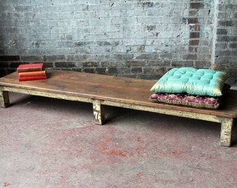Low Backless Bench Vintage Industrial Rustic Cottage Chic Narrow Coffee Table Mudroom British Colonial Raj Indian