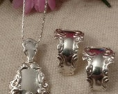 Premier Designs Necklace and Post Earrings, Matching Set, Silver Plated Spoon, Victorian Look, Silver Plated Chain