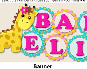 Baby Girl Giraffe Baby Shower BANNER, Giraffe Birthday Party Decorations - Package, Invitation,Favor, Banner, Invite - pink turquoise
