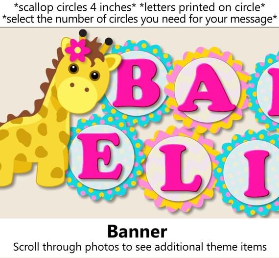 Giraffe baby shower banner giraffe birthday party decorations il570xn stopboris Image collections