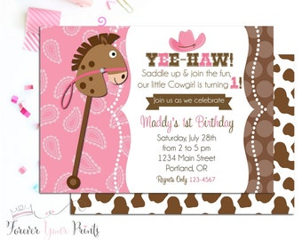 Cowgirl Birthday Invitation, Cowgirl Party Invite, Cowgirl Invitation, Cowgirl Invite, Cowgirl Party, Girls Birthday Invitation, Western