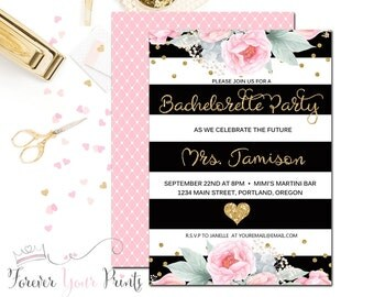 Floral Bachelorette Party Invitation - Printable Bachelorette Invitation - Bridal Shower Invitation - Bridal Party - Black and Gold Glitter