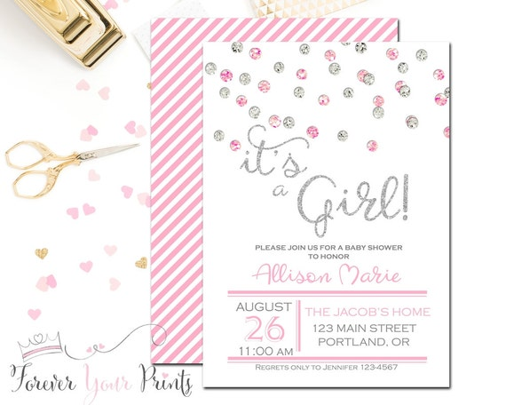 pink and silver glitter baby shower invitation it 39 s a girl baby