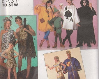 Easy Costume Pattern Caveman King Card more Adult Size 30 - 48 Chest Uncut Simplicity 9945