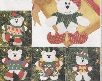 "Bear Ornament Pattern 6"" Jester Angel  NO Sewing Uncut Butterick 4604 Christmas Decoration"
