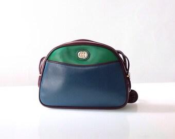 Vintage Gucci Colorblock Shoulder Bag // Green Blue Burgundy Leather Purse