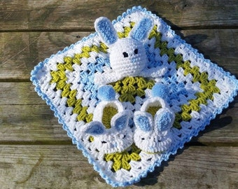 Bunny Baby Set- Lovey, slippers, boy, baby gift, Easter