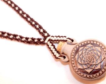 Simple micromacrame hemp necklace with lotus flower ceramic vessel, macrame, hemp jewelry, yoga, meditation, hippie