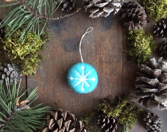 Felt snowflake ornament, Bright Turquoise, vintage style round ornament, teal wool christmas ornament, teacher gift, coworker ornament