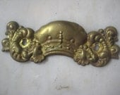 """Antique Stamped Brass Victorian Escutcheon Backplate, Hardware Finding, Light Patina, 5"""" x 1  1/2"""". 1 Pc."""