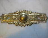 "Antique Stamped Brass Victorian Escutcheon Backplate, Hardware Finding,  5"" x 1 3/4"". 1 Pc."