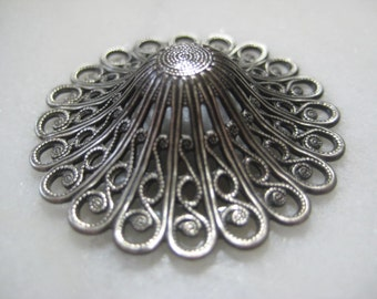 Vintage Filigree: 1970s Guyot Ornate Lacy Deep Dapt (Dapped) Round Stamping, Silver Plated Jewelry Finding, Unused Old Stock, 35mm, 1 pc.