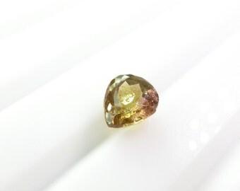 Bicolor Tourmaline Gemstone. SUPER Bright. No Treatments. Native Cut. Table Down For Rose Cut. 1 pc. 1.54 cts. 6.5x7.5x4.5 mm  (TM2345)