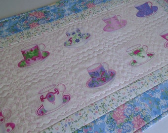 Quilted Table Runner, Tea Cup Table Runner, Floral Quilted Table Topper, Cottage Chic Runner, Dresser Scarf, Vintage Style