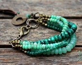 Emerald green - Gorgeous green multistrand gemstone bracelet with aventurine, malachite and chrysoprase