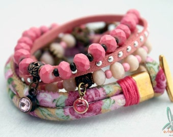 Mix & Match pink - Bohemian, urban chic, stack set of 4 handmade bracelets in pink