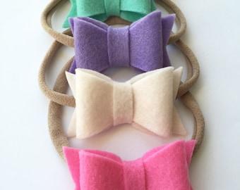 Felt bow on nylon elastic headband - Headband - Girls Headband - Nylon Headband - Felt Bow Nylon Headband - Pastel Bow Nylon Headband