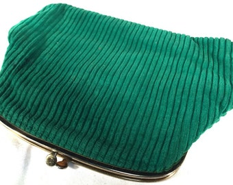 Green Corduroy Clutch with change purse